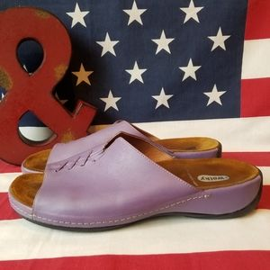 Comfortable Wolky Purple Leather Slip On Shoes
